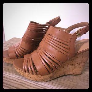 😍 Size 8.5 Franco Sarto Cork Wedge Sandals 😍